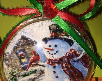 Snowman  with cardinal themed  ornament