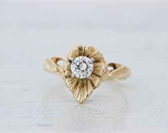 Boho Engagement Ring | 0.28 CT Diamond Solitaire | Floral Ring | Vintage Engagement Ring | 14k Yellow Gold Ring | Eco Friendly | Size 5.25