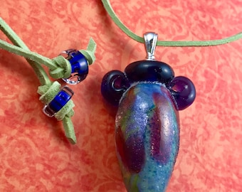 Glass Vessel Pendant with Suede Cord --Collage Vessel -- Lampwork Blue and Purple Glass