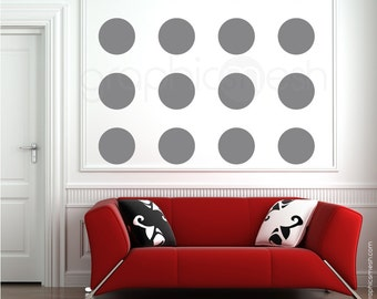 Wall decals 16 x 6.5 inch POLKA DOTS Modern interior decor - Simples shapes by Graphics Mesh