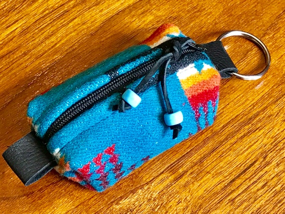 Wool Keychain Toiletry / Dopp Pouch / Purse Ornament Turquoise Mini Chief Joseph