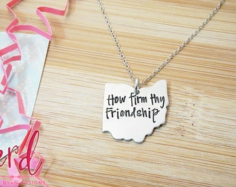 How Firm Thy Friendship Necklace - Carmen Ohio - Alma Mater - Hand Stamped Silver Necklace or Key Chain