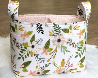 Diaper/Nappy Caddy~Fabric Basket~ Sprigs and Blooms Blush Floral Fabric Divided Basket~Nursery Decor~Toy Organizer~Storage Caddy