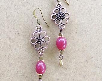 Fleur Earrings With Ruby Gemstone Beads