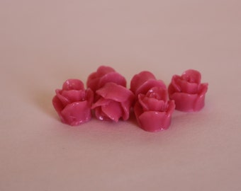 10 TEENY ROSE Cabochons - 8mm - Fuchsia Color