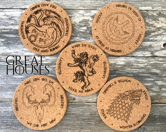 Great Houses, Game of Thrones Coasters (GOT), Set of 5, Name of house and slogan on each coaster