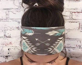 Native Roots - Brown & Turquoise - Eco Friendly Headband - Yoga Headband
