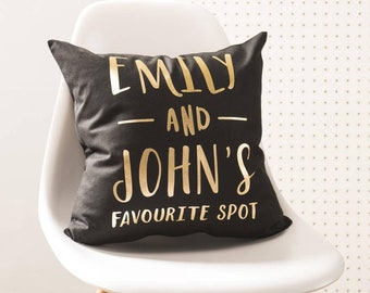Personalised 'Favourite Spot' Black And Gold Cushion Pillow