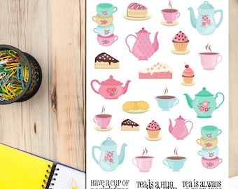 Cute Tea and Cake Planner Stickers | Tea Time Stickers | Morning Tea Stickers | Afternoon Tea Stickers | Tea Lover Stickers (S-051)