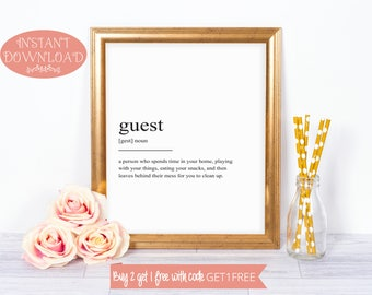 Printable Art, Guest Definition Print, Wall Art Prints, Quote Print, Printables, Minimalist Prints, Guest Room Print, Wall Prints, Wall Art