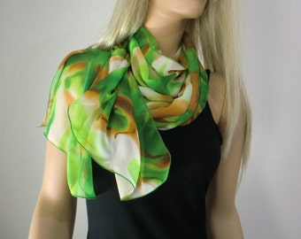 Green and caramel brown long chiffon scarf -Parisian Neck Tissu