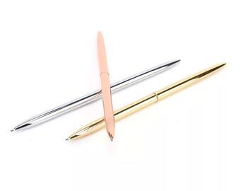 Rose Gold Pen Silver Pen Gold Pen Wedding Pen Guest Book Pen Planner Pen Slim Journal Pen Ink Pen Metal Ballpoint Pen Elegant Pen Desk Pen