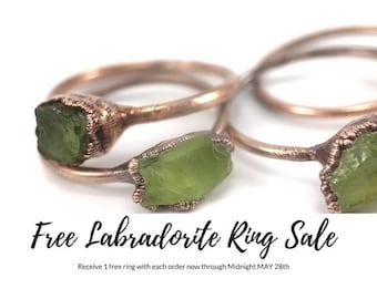 Peridot Raw Stone Ring Raw Crystal Ring Gemstone Ring Bohemian Ring Electroformed Copper Ring Boho Ring Raw Stone Engagement Rough Stone
