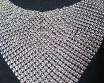 Vintage Silver Chain-Mesh Choker, Silver Tone Mesh Bib Necklace, Cowl, Scarf, Ascot, Drape, Collar