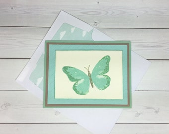 Butterfly Card - Hand Stamped Card - Stampin Up Card - Glitter Card - Birthday Card - Nature Card - Thank You Card - Blank Card