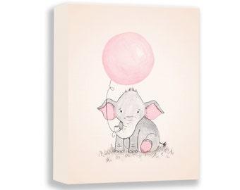 Elephant Illustration - CANVAS - Baby Girl - Nursery Art Print - Watercolor PRINT - Girl Nursery Decor - Art for Children - E459