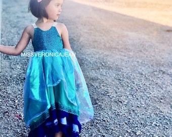 mermaid unicorn ruffle pastel bohemian layered boho flower girl rustic junior bridesmaid toddler maxi high low dress