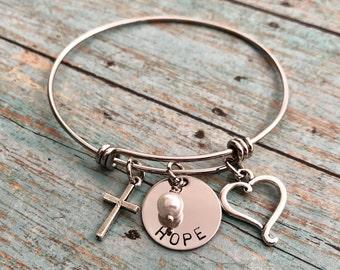 Faith - Hope - Love - Bangle Bracelet - with Charms
