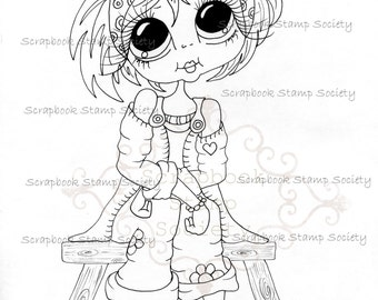 INSTANT DOWNLOAD Digital Digi Stamps Big Eye Big Head Dolls Messy Bessy IMG801 My Besties By Sherri Baldy