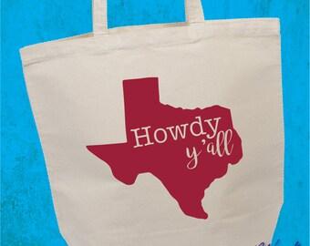 Howdy Y'all Canvas Tote Bag - Texas Tote Bag - Texas Canvas Bag - Cotton Canvas Tote - Texas Gift - Farmers Market Shopping Bag - Christmas