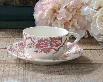 Royal China Pink Traditions Transferware Tea Cup and Saucer, Retro Restaurant Ware, Mid Century Coffee Cup Set Ca. 1959