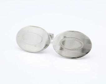 Vintage Anson Oval Art Deco Style Cufflinks in Sterling Silver. [8627]
