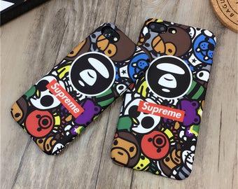 Bape Phone Case Fashion supreme Army A Bathing Ape Camo Shark Camouflage Luminous hard Case Matte Cover For iPhone X 8 7 Plus 6s Plus Fundas