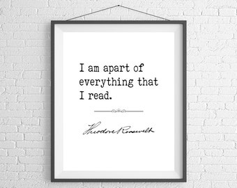 Theodore Roosevelt Quote Print, Literature Poster, Inspirational Wall Art, Literary Gifts, Book Lover Gifts, English Teacher Gift, Reader