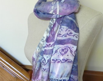 Hand dyed Devore satin silk shawl with fringe, violet blue and mulberry pink silk scarf, ready to ship #488