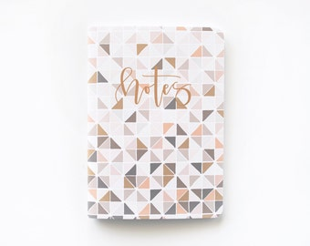 Medium Illustrated Journal | Hand Illustrated Geometric Journal with Hand Lettered Calligraphy, Lined Notebook Stationery