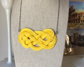 Decorative sailor knot necklace, bright yellow, for summer, woman and girl gift, handmade jewelry, stainless steel