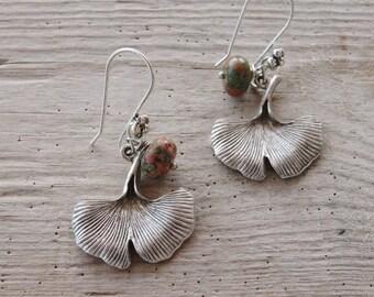 Ginkgo Leaf Earrings, Botanical Jewelry, Metal and Unakite Gemstone