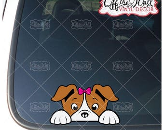 Peek-A-Boo Jack Russell Terrier with/Bow Vinyl-Decal-Sticker