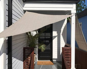 Custom Sized Right Triangle Sun Shade Sail with 6'' Stainless Steel hardware kit - Smoke Grey