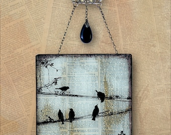 Birds on a Wire Handmade Glass Wall Decor from Upcycled Dictionary page book art - WilD WorDz - Carriers of the Word No. 1