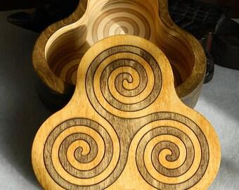 Triskelion Shaped Hardwood Inlay Box - Handmade - Triskele, Triple Spiral, Celtic symbol, brown, laser etched