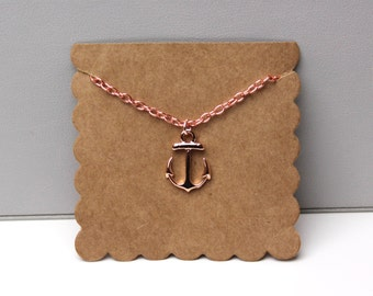 Rose Gold Anchor Necklace // dainty rose gold necklace // with gift packaging