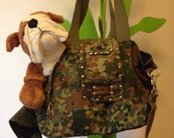 Borsa, bag for pet,gatti e cani trasportino con tracolla, militare, camouflage,military