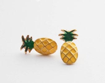 PIneapples, Pineapple Earrings, Pineapple Jewelry, Pineapple Stud Earrrings,Fruit Earrings, Tropical Studs, Gifts Under 20, Stocking Stuffer