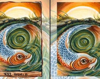 Koi Fish Art, Any Print Size, Sunrise Wall Art, World Tarot Card, Koi Fish Pond, Japanese Decor, Animism Tarot Deck, Orange & Green