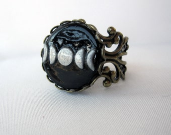 Hand-Molded Moon Phases Filigree Ring - Adjustable - Handmade - Boho - Bohemian Statement Jewelry - Antique Brass Small Moon