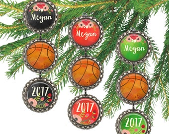 Basketball ornament, personalized Christmas ornament, girls basketball player gift for her, custom name and date.