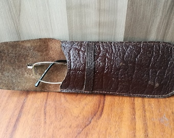 Leather spectacle case / Glasses case / Sunglasses case / Eyeglasses case / Leather case / Genuine leather case / Brown leather case
