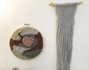 Punch needle on embroidery hoop frame