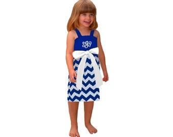 Blue + White Chevron Dress- Girls