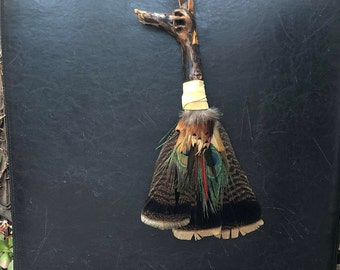 Feather Fan with Driftwood Handle