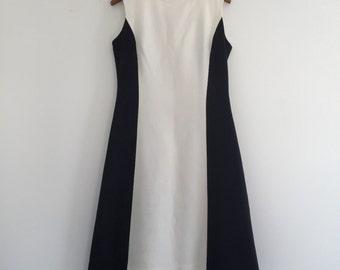 Vintage 60's Futuristic Monochrome Dress S M