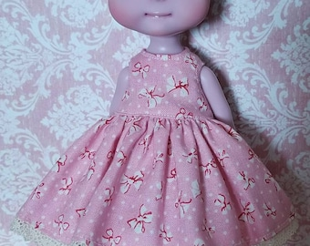 Tiny BJD Cerise Babydoll Style Dress Pink Bows by Tickled Pink by Julie