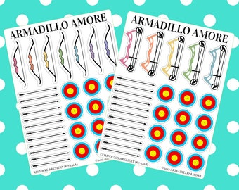 246 | Archery Stickers, Choose Recurve or Compound {29+ Fancy Matte or Glossy Planner Stickers}