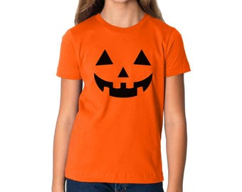 Jack O' Halloween Pumpkin Youth Shirts Kids T Shirts Halloween Funny Easy Costume